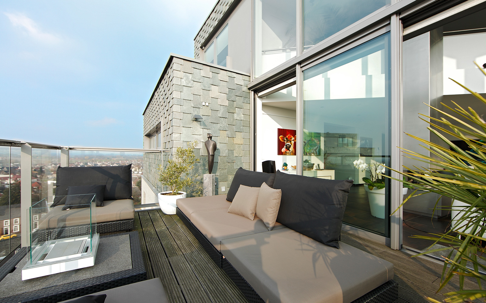 Terras, dakterras, tuinmeubelen, uitzicht, grote ramen, comfortabel, penthouse, Crepain Binst