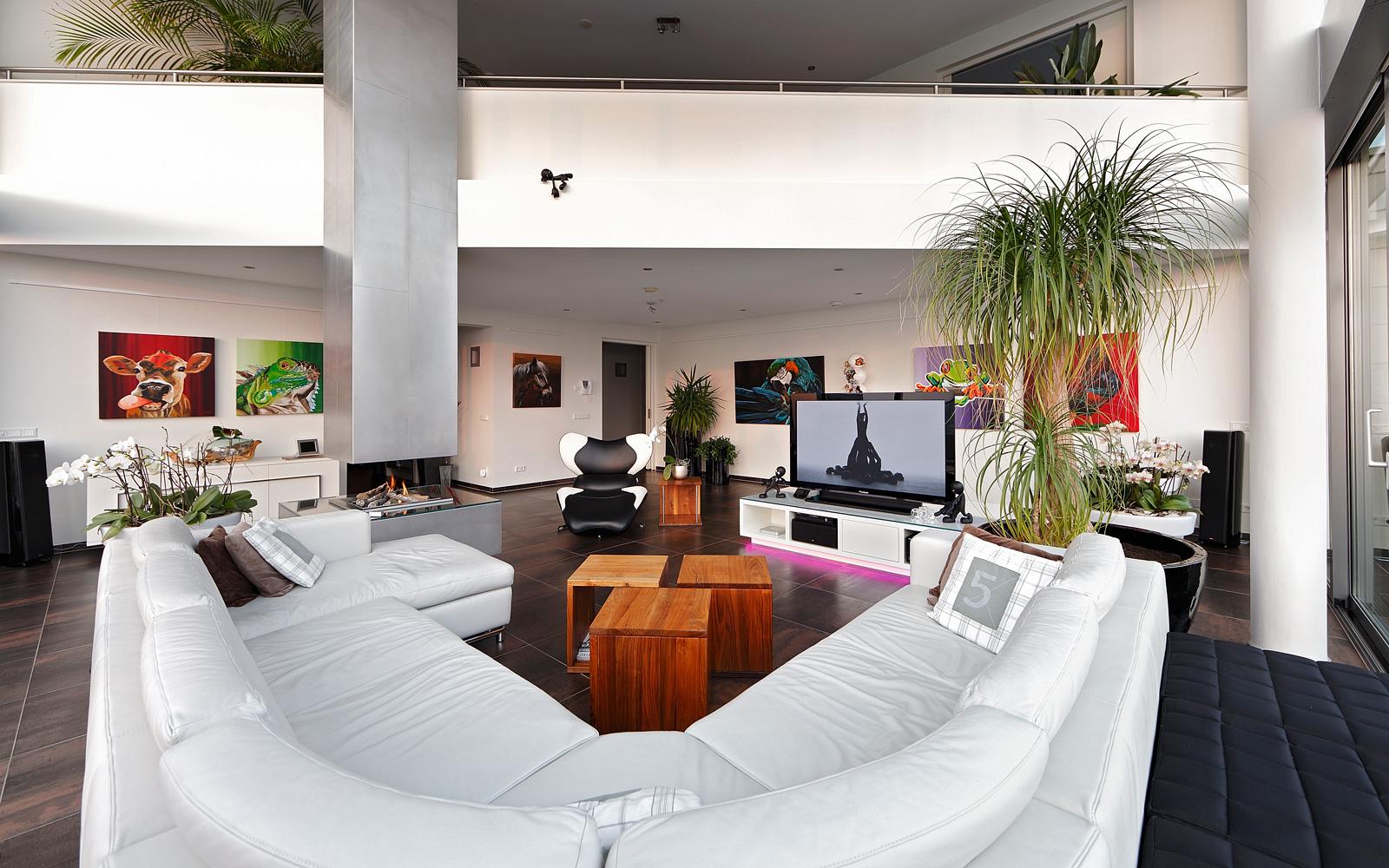 Woonkamer, living, meubels, Gebroeders Smits, hoekbank, televisie, ruimtelijk, Penthouse, Crepain Binst