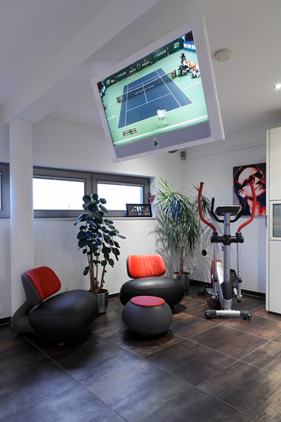 Fitness, sport, fitnessruimte, televisie, luxe, penthouse, Crepain Binst