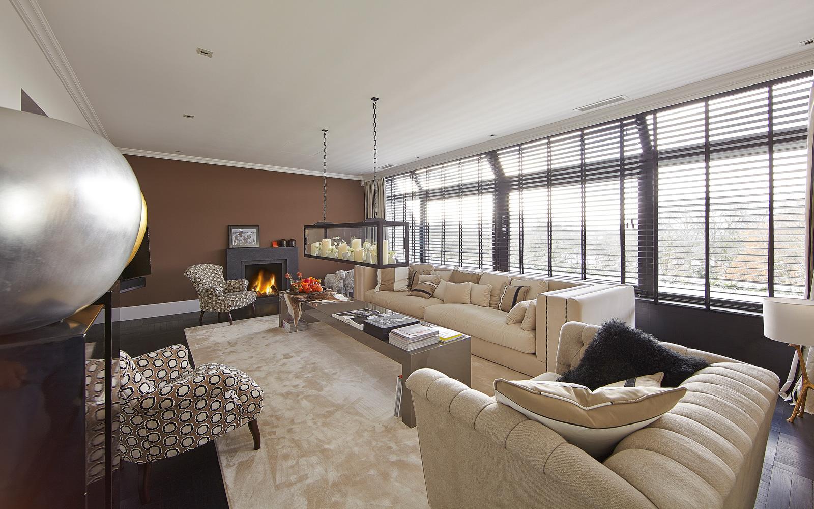 Penthouse RMR Interieurbouw, living, openhaard, Heerkens, shutters JASNO