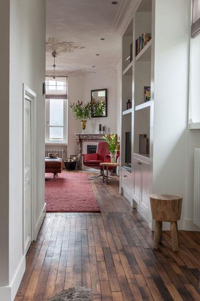 Eikenhout, vloer, parket, bibliotheek, boekenkast, maatwerk, Modern klassiek interieur, MarStyling