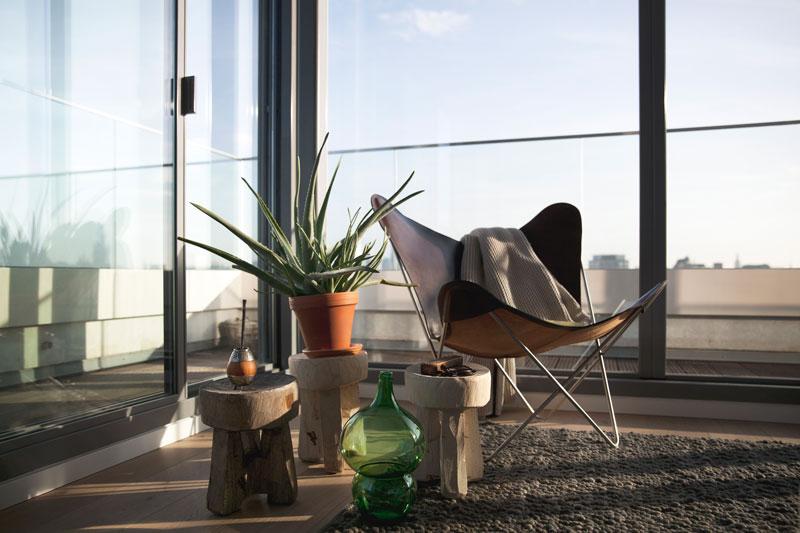 Slaapkamer, lichtinval, glaswerk Metaglas, uitzicht, Penthouse Den Haag, Marco van Zal