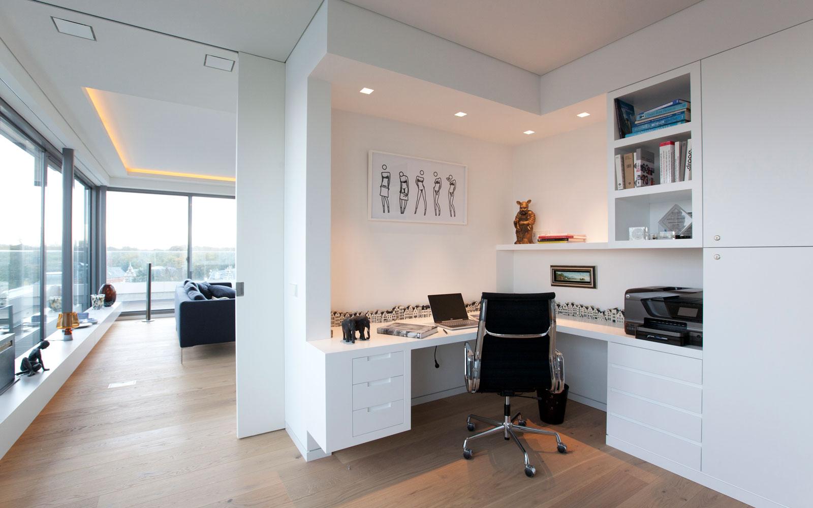 Home office, kantoor, open verbinding, maatwerk kast, HG Meubelmakers