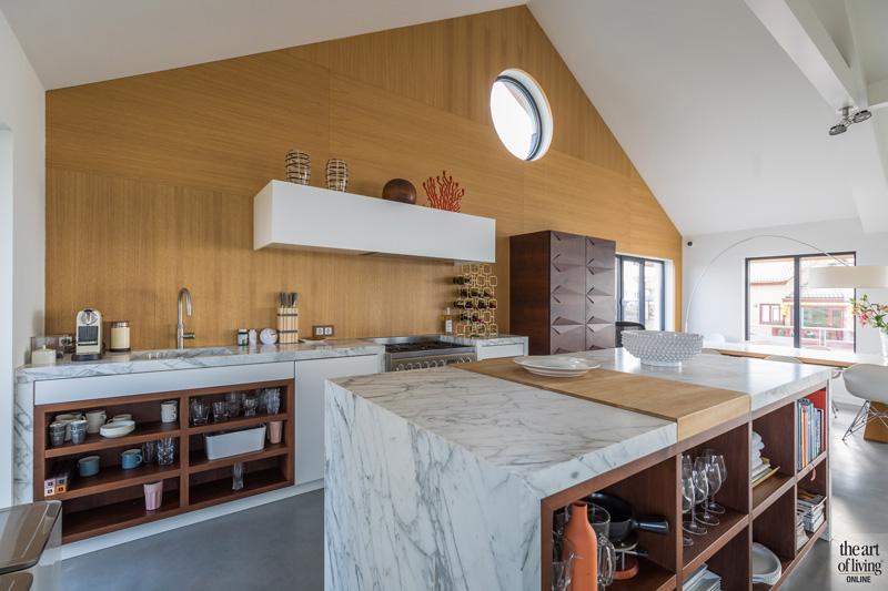 Keuken, wit marmer, Dokter Interieurbouw