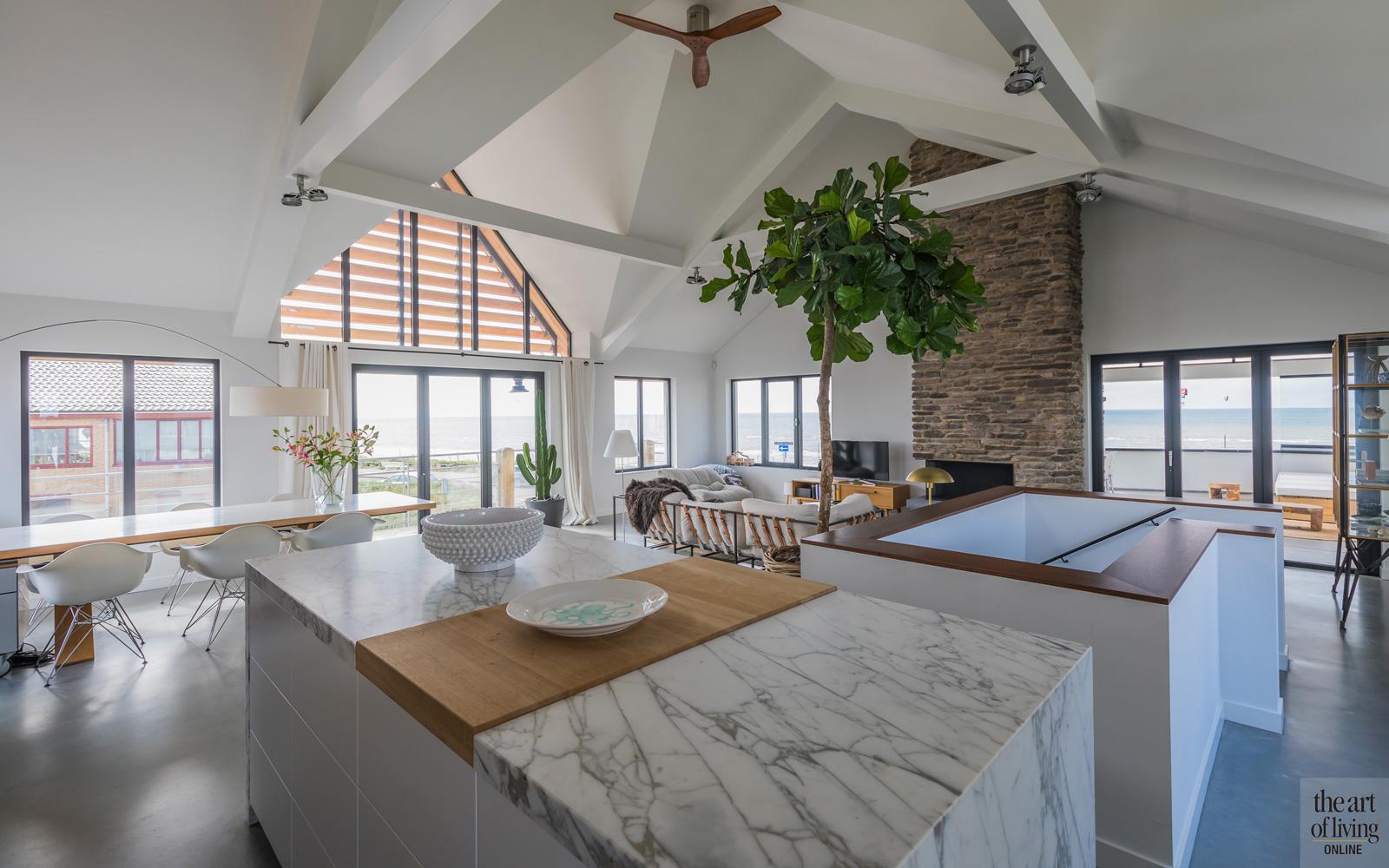 Keuken, wit marmer, Dokter Interieurbouw, open keuken