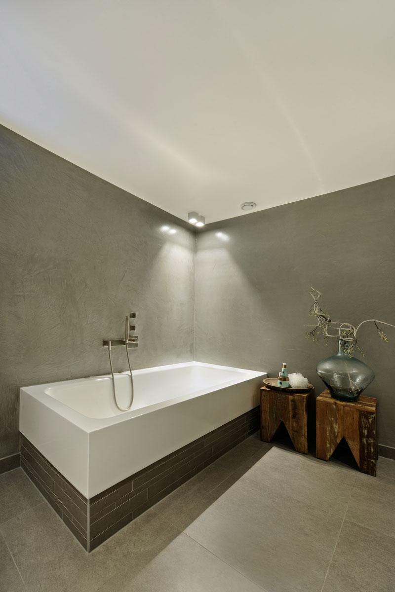 Badkamer, bad, hout, grijze muur, metamorfose, Boxxis Architecten