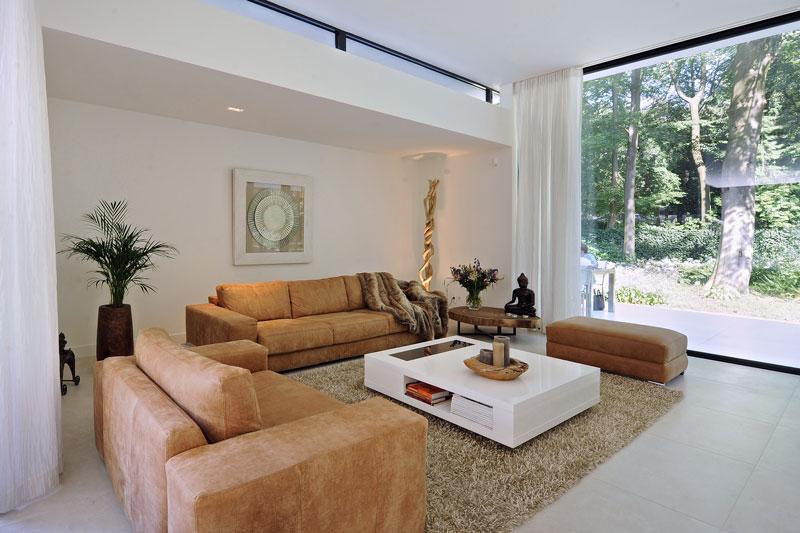 Woonkamer, zithoek, banken, interieur, moderne bungalow, Boxxis Architecten