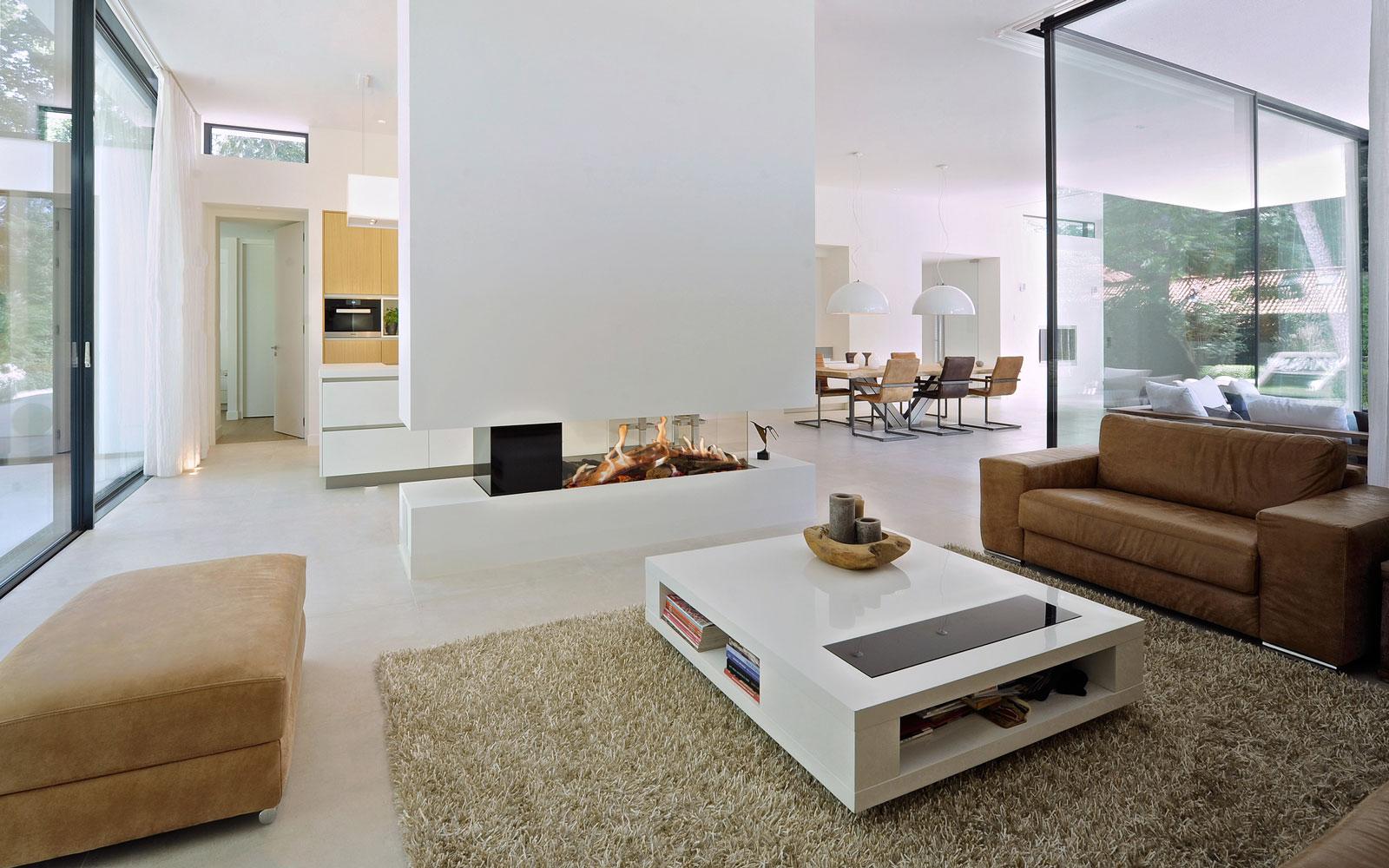 Woonkamer, openhaard, Kusk, open verbinding, moderne bungalow, Boxxis Architecten