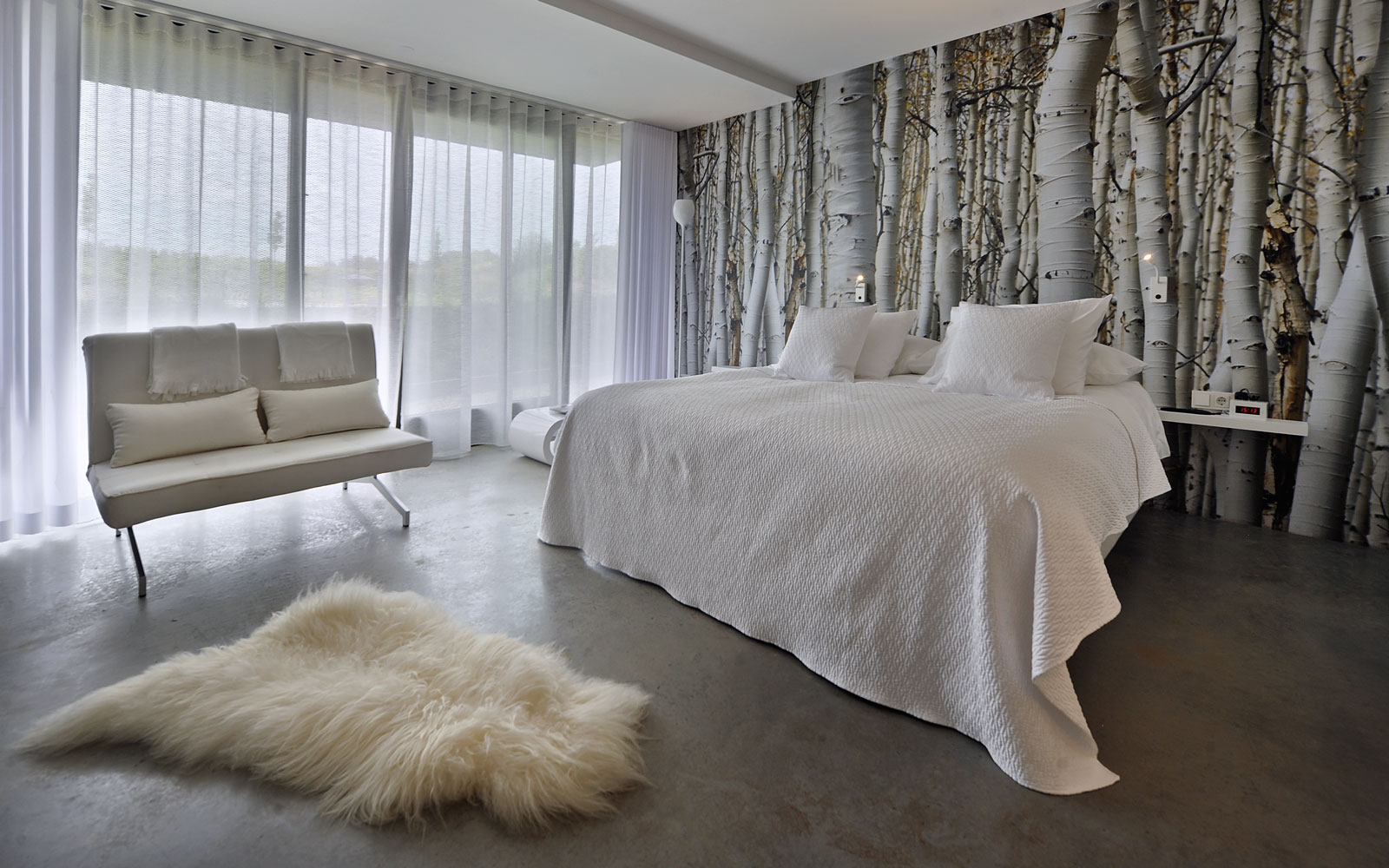Slaapkamer, bed, Auping, behang, wit, rustig, La Marquise, Hertroijs Architekten