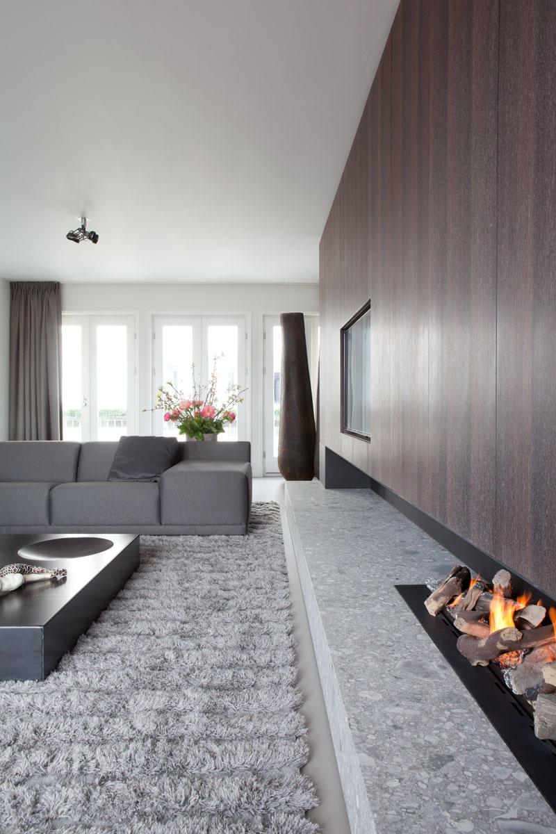 Woonkamer, open haard, het Openhaarden Huys, maatwerk kast, Penthouse Amsterdam, Remy Meijers