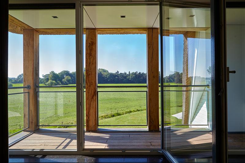 Prachtig uitzicht, weilanden, eettafel, hout, keuken, landschap, landelijk, industrieel, Wolfs Architecten