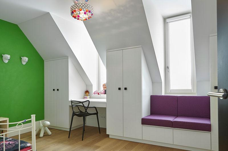 Slaapkamer, kinderslaapkamer, maatwerk kasten, houten vloer, droomvilla, Marco Daverveld