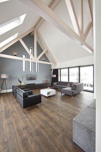 Woonkamer, zitgedeelte, houten vloer, open hard, Van Tiel Haarden, televisie, droomvilla, Marco Daverveld