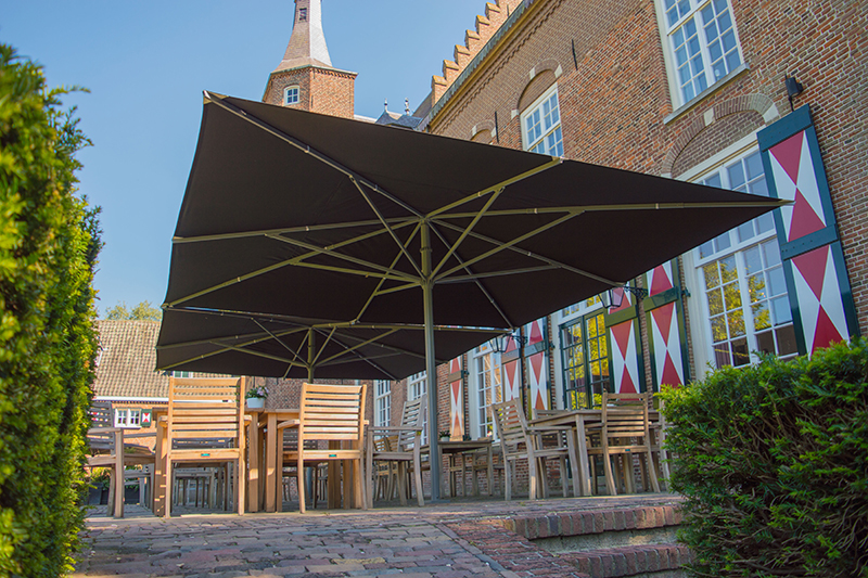 Kasteel Maurick, Solero Parasols, zweefparasol, zonbescherming, the art of living