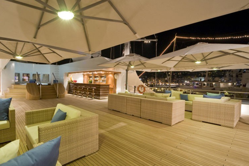 Bootparasols op yacht, solero Parasols, zweefparasols, zonbescherming, the art of living