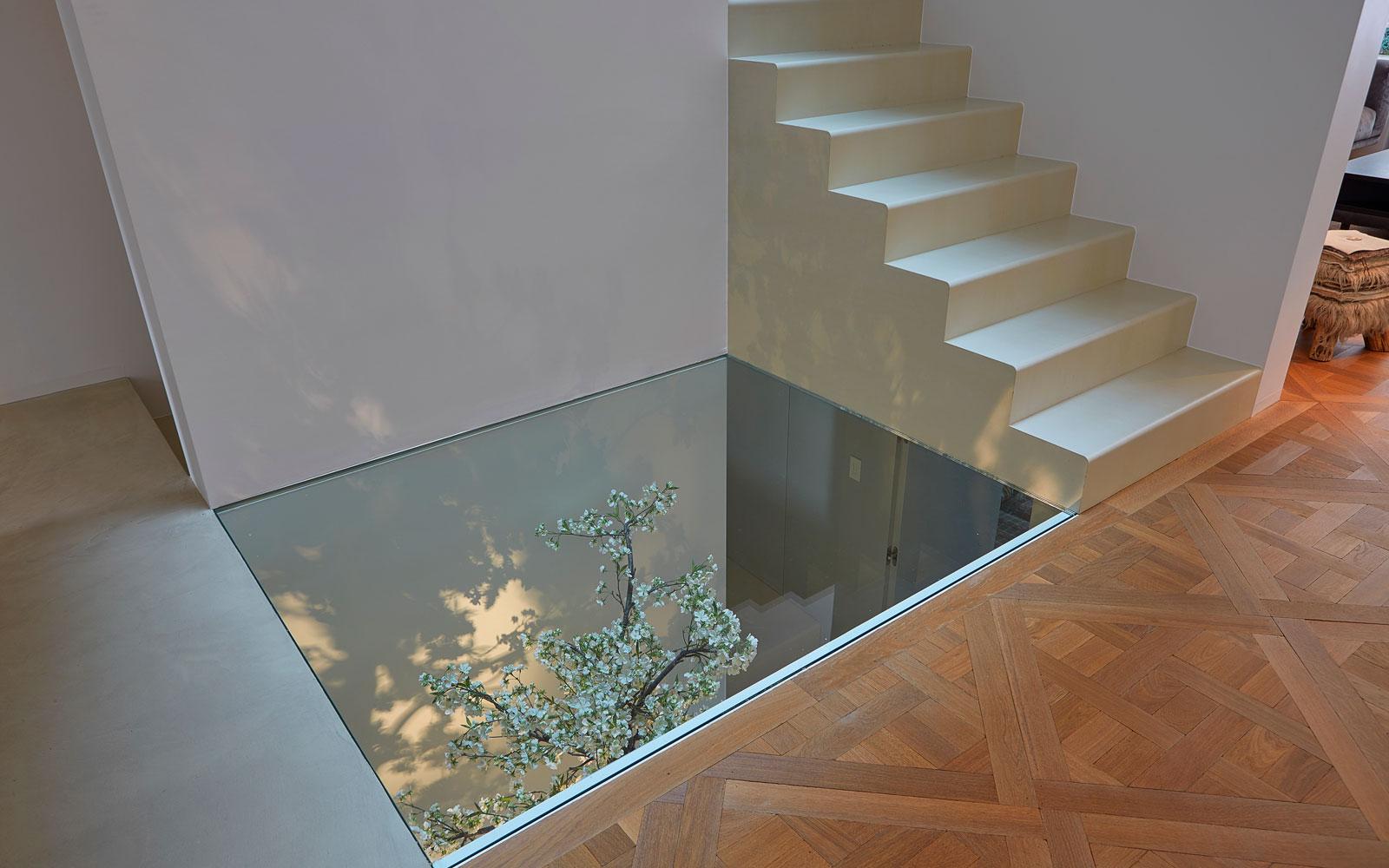 Glazen plafond, licht en ruimte, grachtenpand, Bart van Wijk