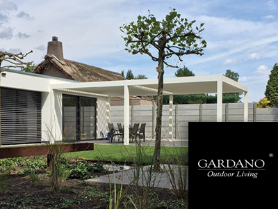 gardano outdoor living, gardano, the art of living, lamellen daken, schuttingen, overkappingen, terrasoverkapping