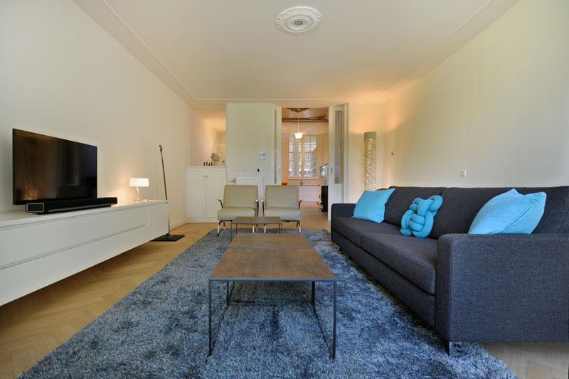 Interieur, Van Oort, Herenhuis, bank, tapijt, tvmeubel, maatwerk