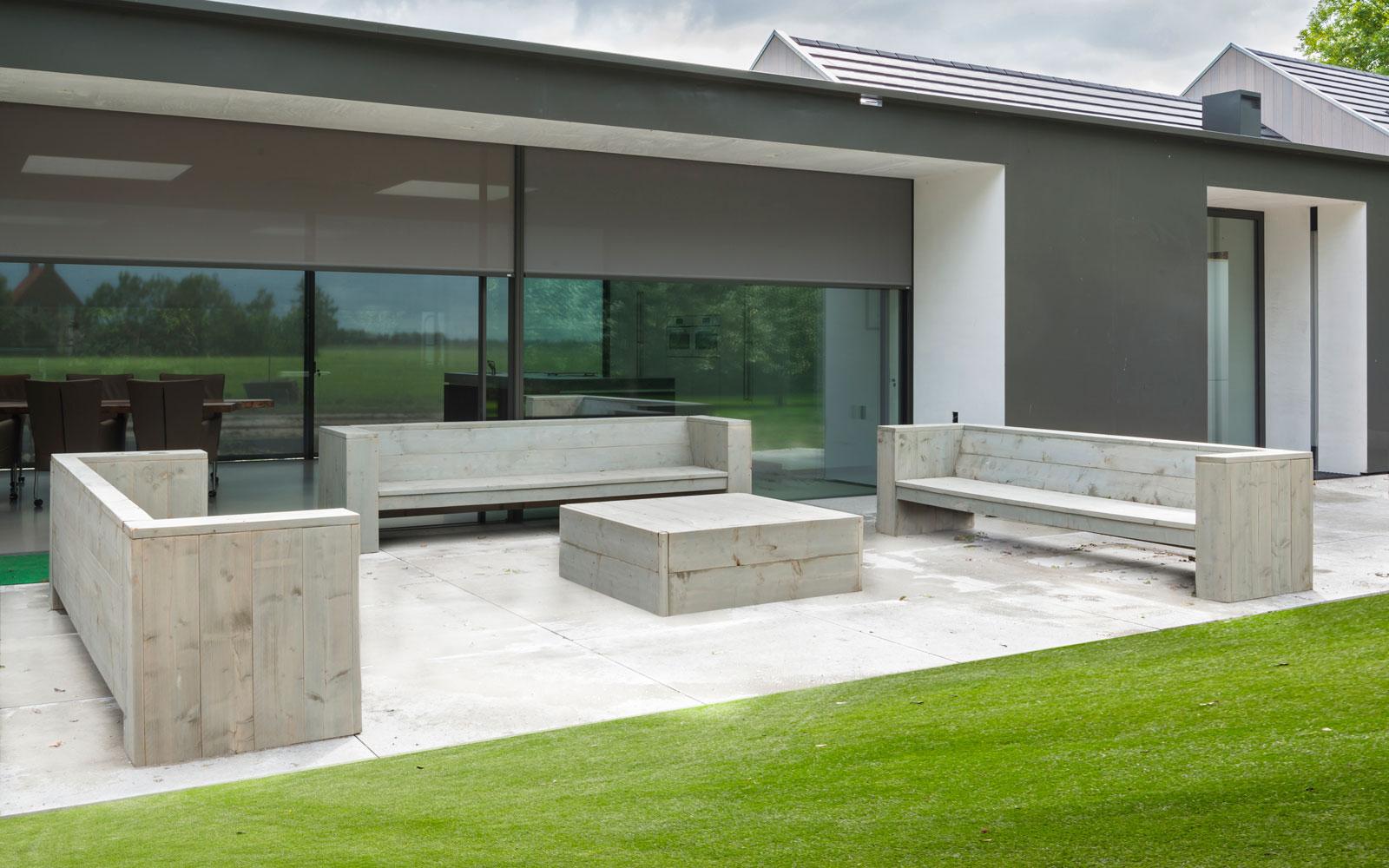 Terras, grote ramen, screens, tuin, moderne uitbouw, Lautenbag Architectuur