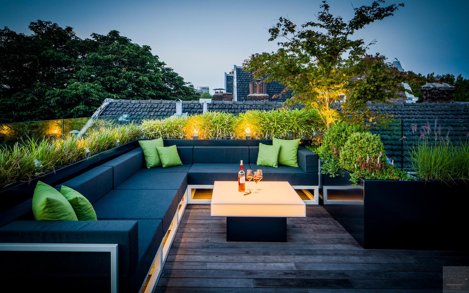Modern dakterras, Erik van Gelder, Verlichting, Dexter Design bv, houten vloer, Tablazz