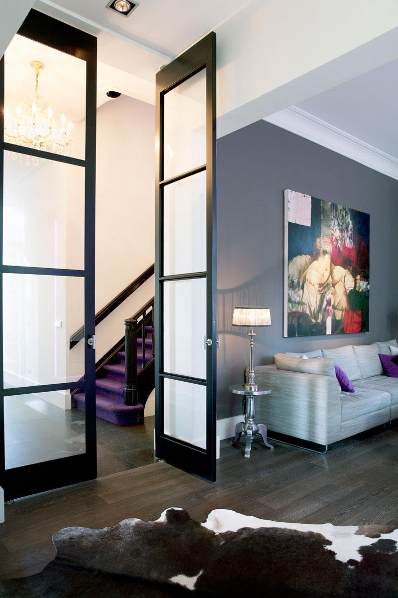 Woonkamer, living, trap, hoge deuren, glas, klassiek herenhuis, Kees Marcelis