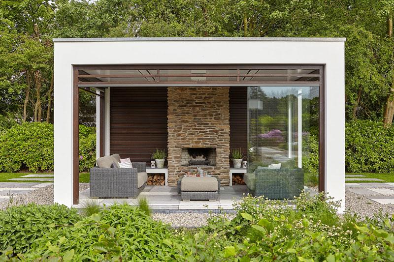 Tuin, Fiona Merckx Tuin Design, Heijkoop Tuinvormgeving, buitenhuis, openhaard, onderscheidende villa, Marco van Veldhuizen