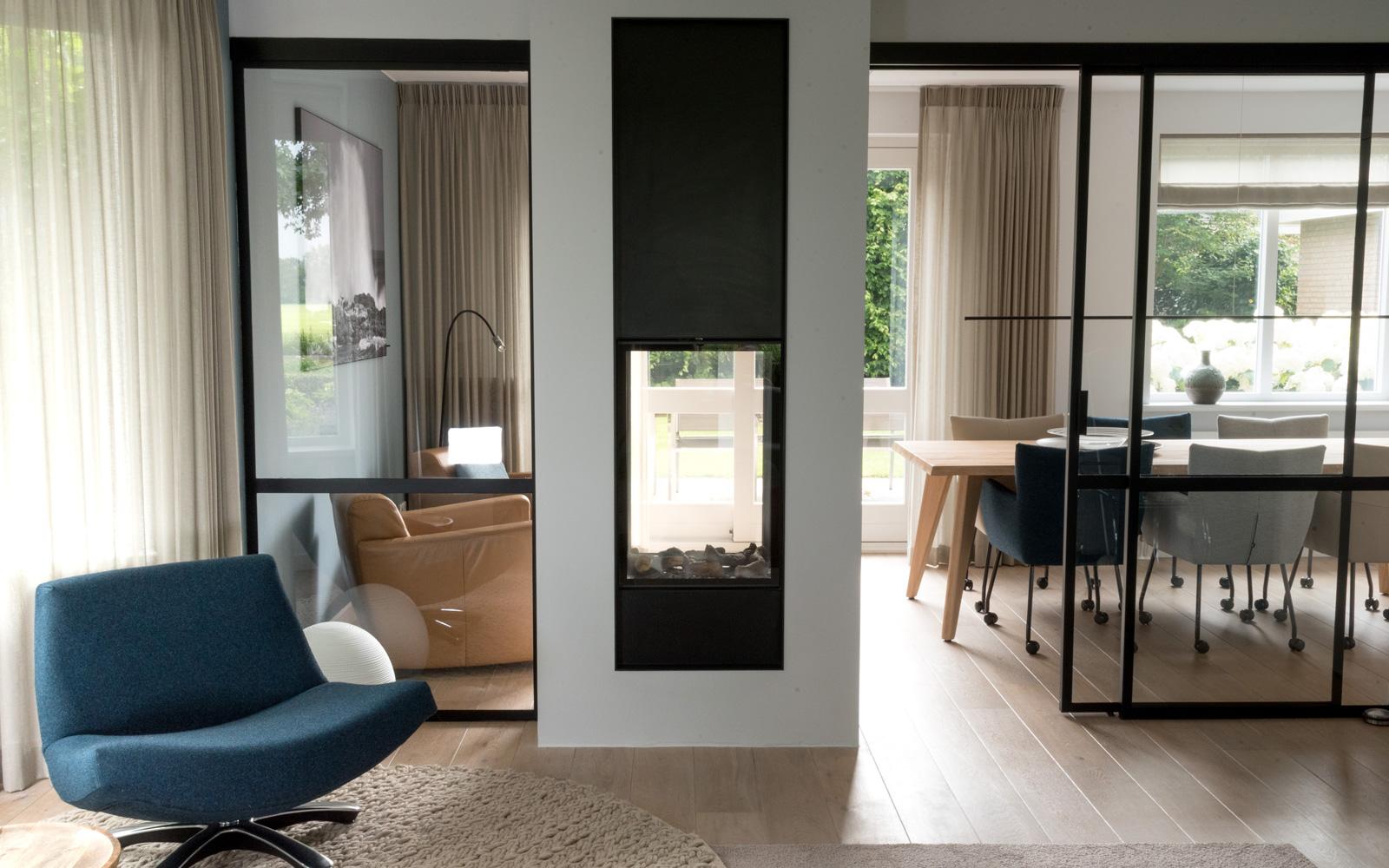 Woonkamer, verbouwing, interieurproject, interieur, doorkijkhaard, stalen frame, MarStyling