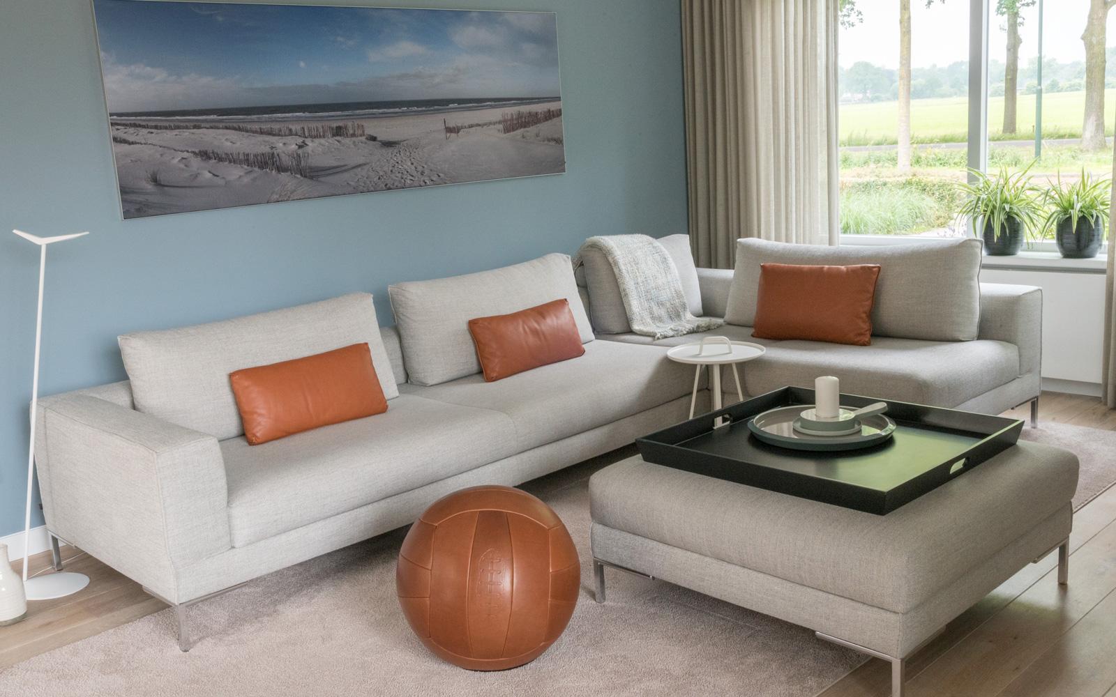 Woonkamer, bank, kussens, comfortabel, lounge, verbouwing, interieur, MarStyling