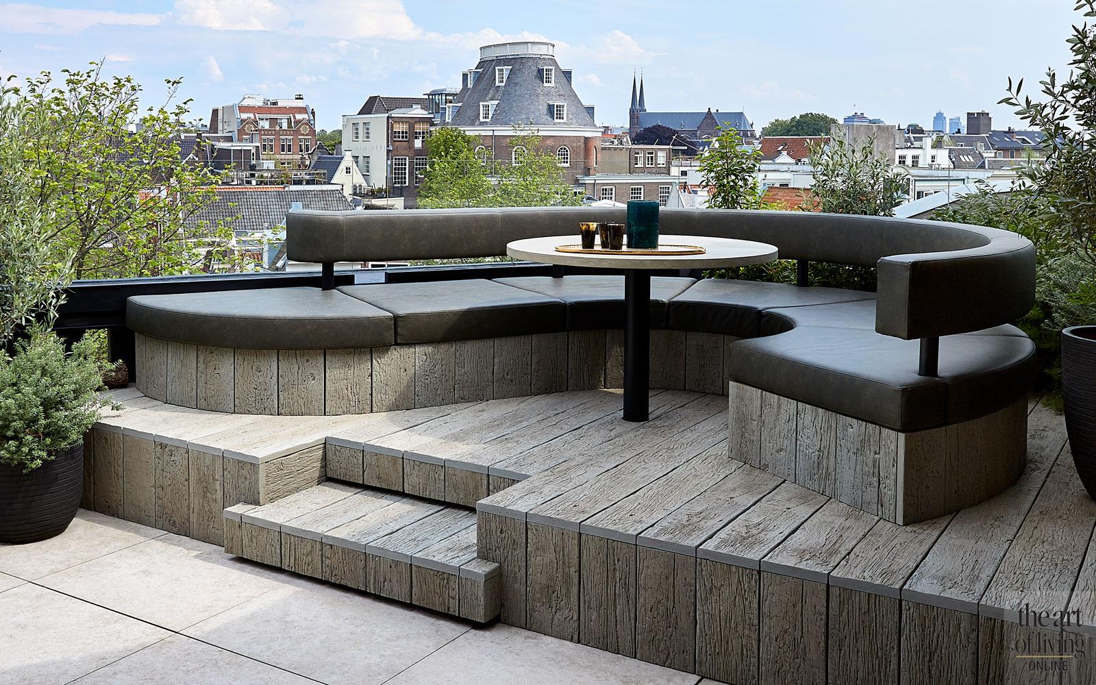 Loungebank, relaxen, genieten, uitzicht, terras, Amsterdam, penthouse, Osiris Hertman