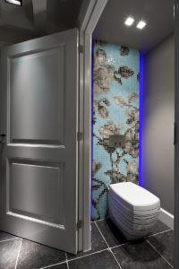 Toilet, sanitair, mozaïek, Bisazza, bloemmotief, sanitair, boerderij, modern