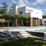Exterieur, villa, eigentijds, hout, zwembad, terras, tuin, Marco van Zal