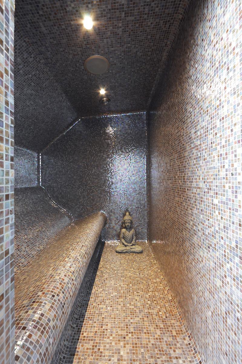 Badkamer, stoomcabine, VSB Wellness, Mozaiek, Van Boven, verbouwing woonboerderij, Marco Daverveld