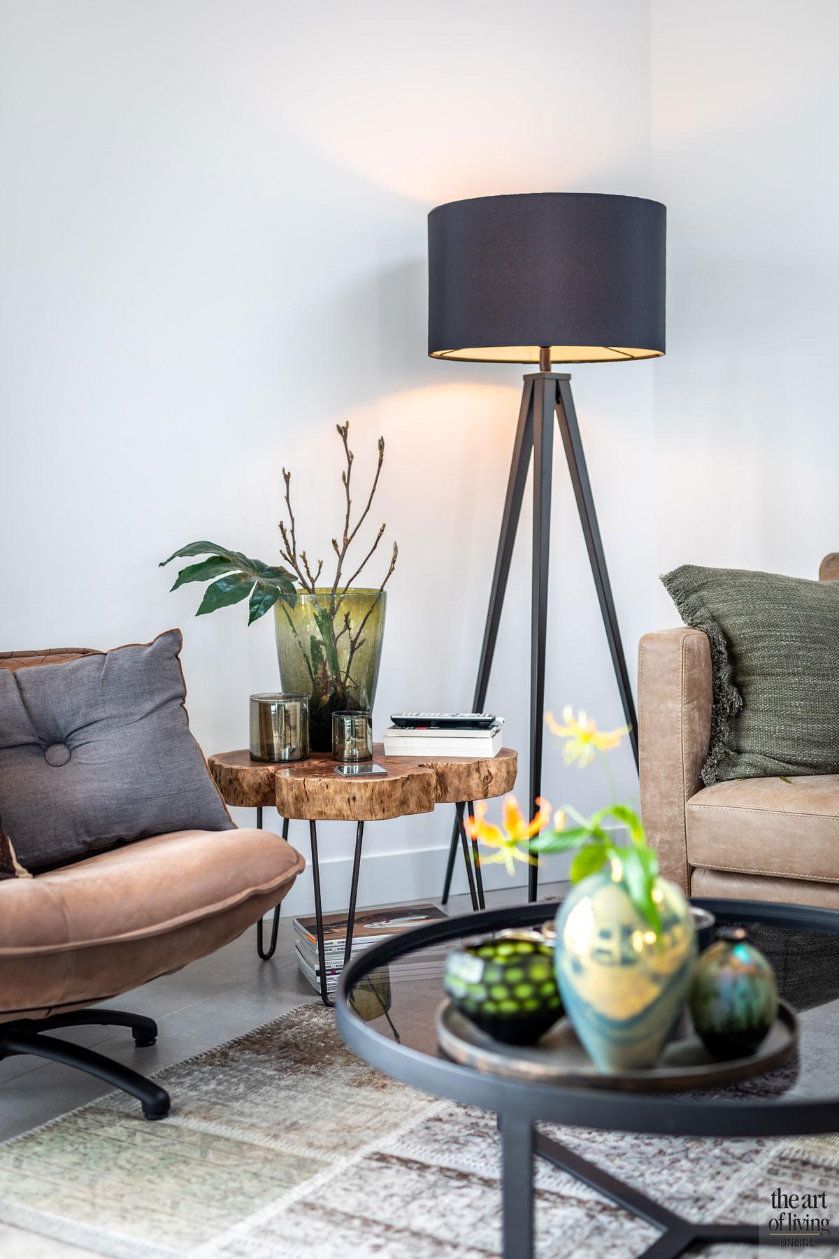 Woonkamer, zithoek, living, lounge, strakke tweekapper, Kabaz, C. van der Grift