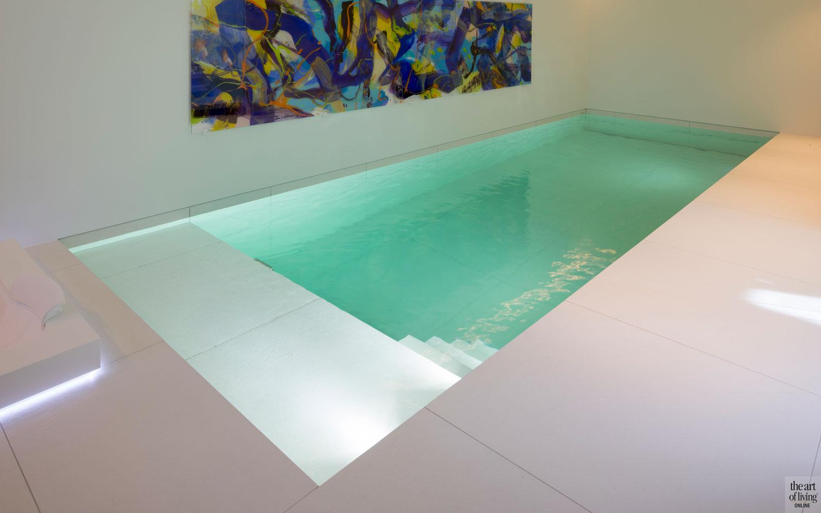 Zwembad, Ambiance, kunstwerk, Jan van Lokhorst, wellness, kelder, villa aan het water, Lab32 architecten