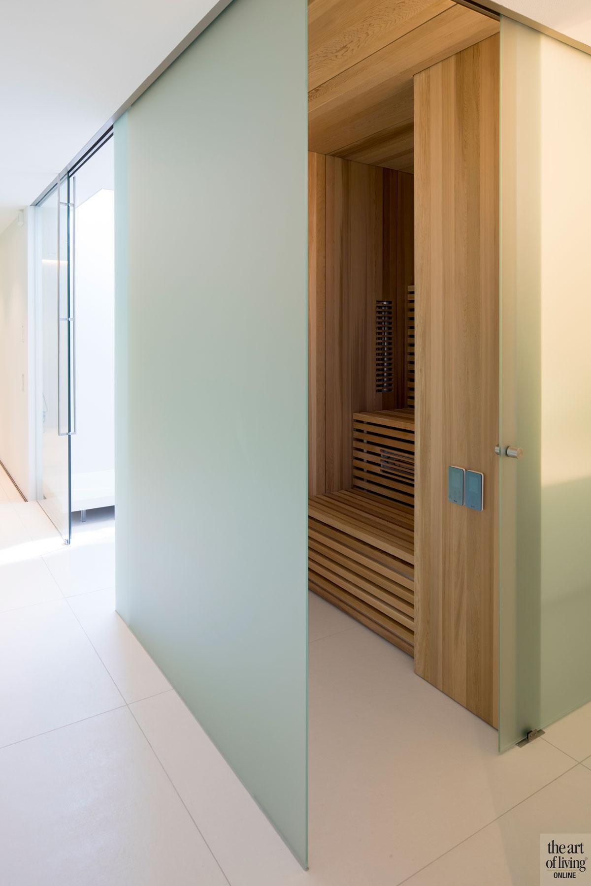 Sauna, wellness, maatwerk, BYOS, infrarood, Jos van Zijl, villa aan het water, Lab32 architecten