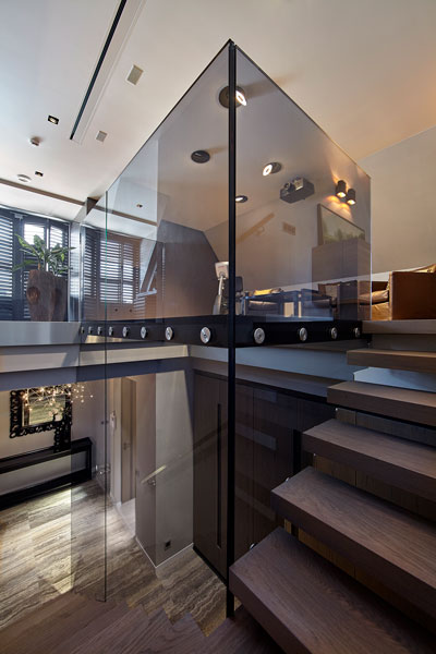 Hal, vide, balustrade, glas, trap, ruimtelijk, penthouse, Eric Kant