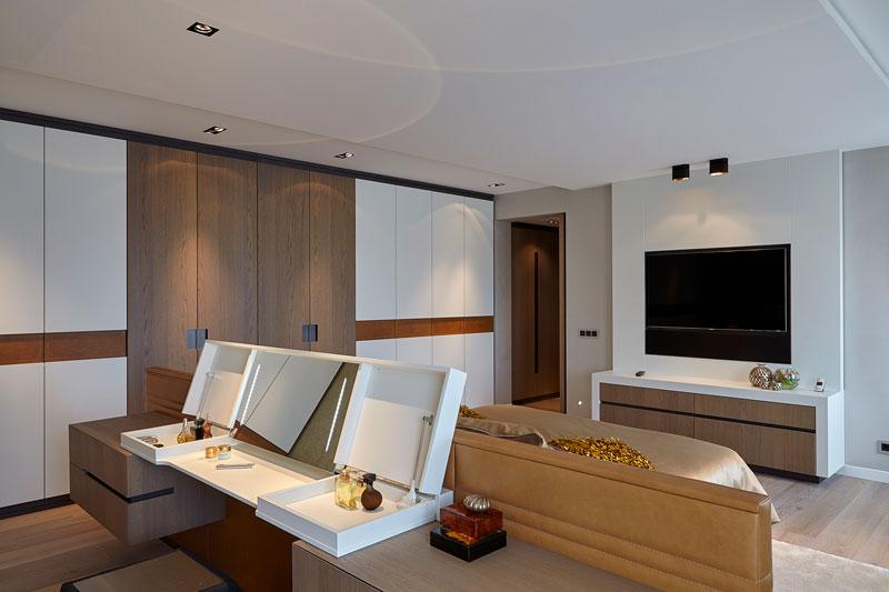 Slaapkamer, master bedroom, room divider, achterwand, wastafels, penthouse, Eric Kant