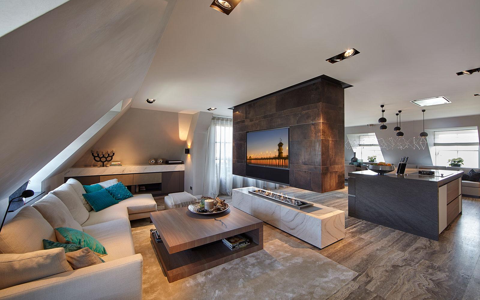 Woonkamer, living, haard, Bad Openhaarden, wandbekleding, Alphenberg Leather, penthouse, Eric Kant