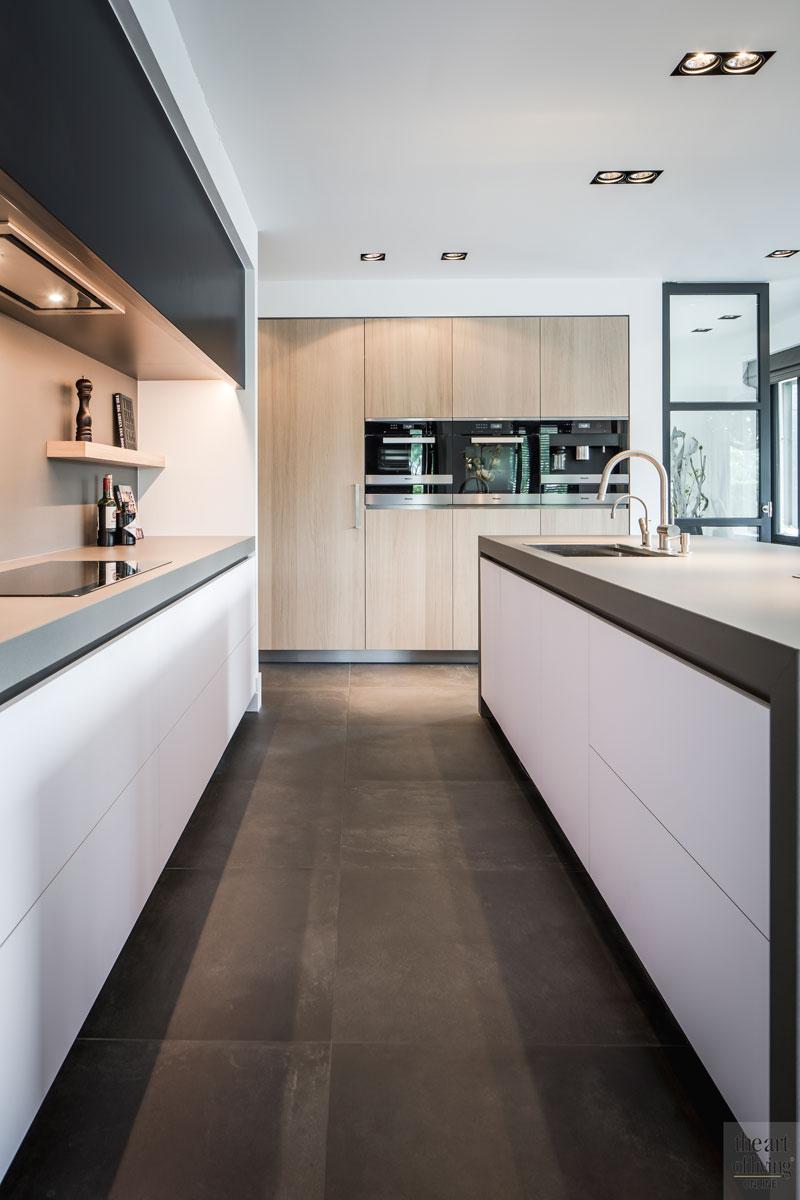 Keuken, eiken kasten, aanrecht, betonlook, Miele, Culimaat, landelijke nieuwbouw, kabaz