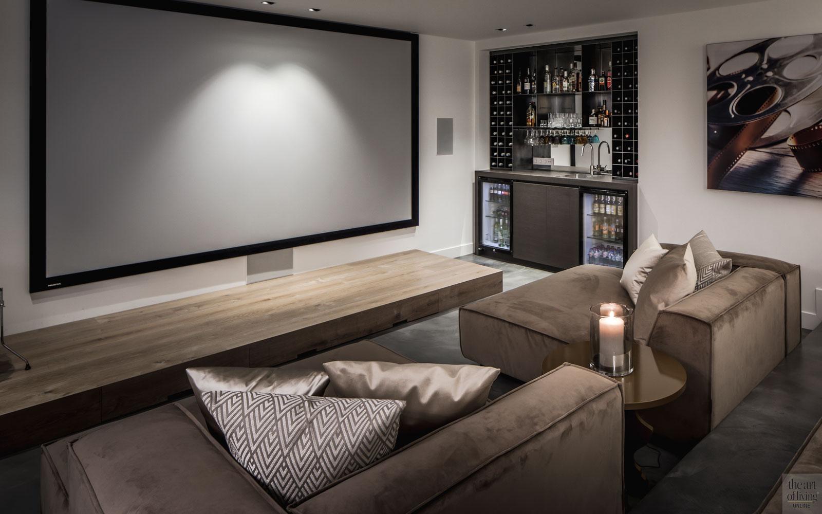 Kelder, home cinema, bioscoop, loungebank, relaxen, landelijke nieuwbouw, kabaz