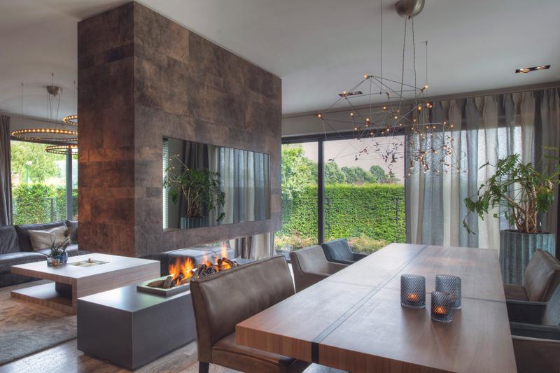 Strakke villa, erik kant, alphenberg leather, leren wanden, leer, the art of living