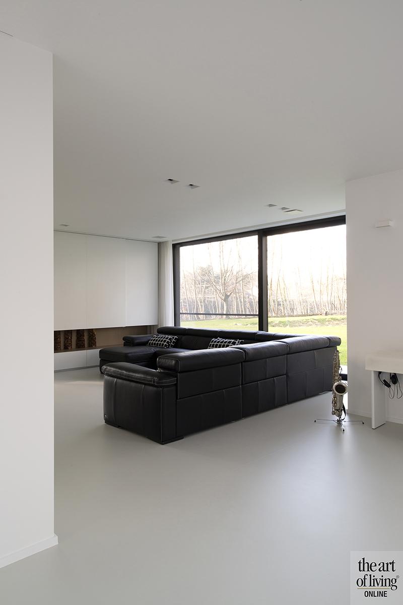 Gietvloer, lounge, Raampartij, Woonkamer, Anja Vissers