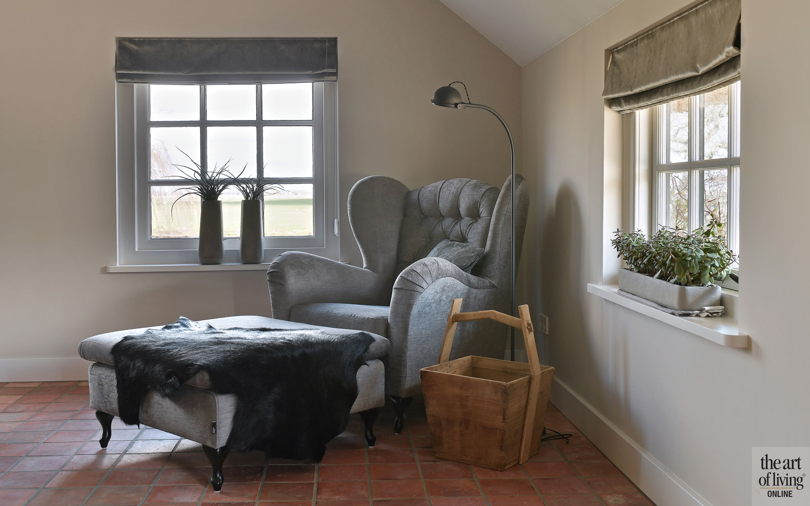 Lounge chair, stoel, ontspannen, tegelvloer, landelijk, modern, Hemels Wonen
