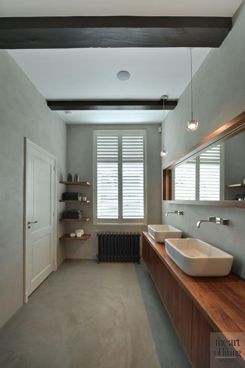Badkamer, sanitair, wastafel, spiegel, shutters, Jasno, landelijk, modern, Hemels Wnen
