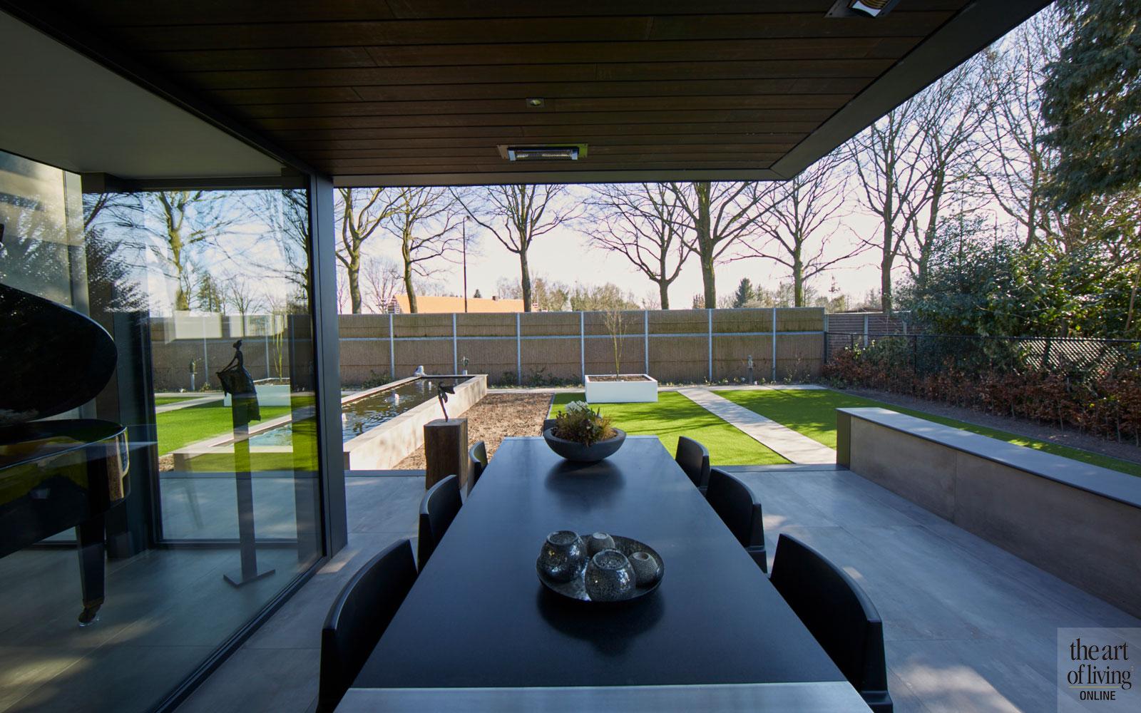 Tuin, Hoveniersbedrijf R&R, tuinontwerp, terras, overkapping, moderne bungalow, Leenders Architecten en Ingenieurs