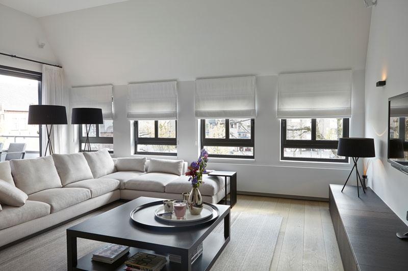 Woonkamer, living, houten vloer, Parket, Meubiflex, hoekbank, lounge, penthouse, Marco Daverveld