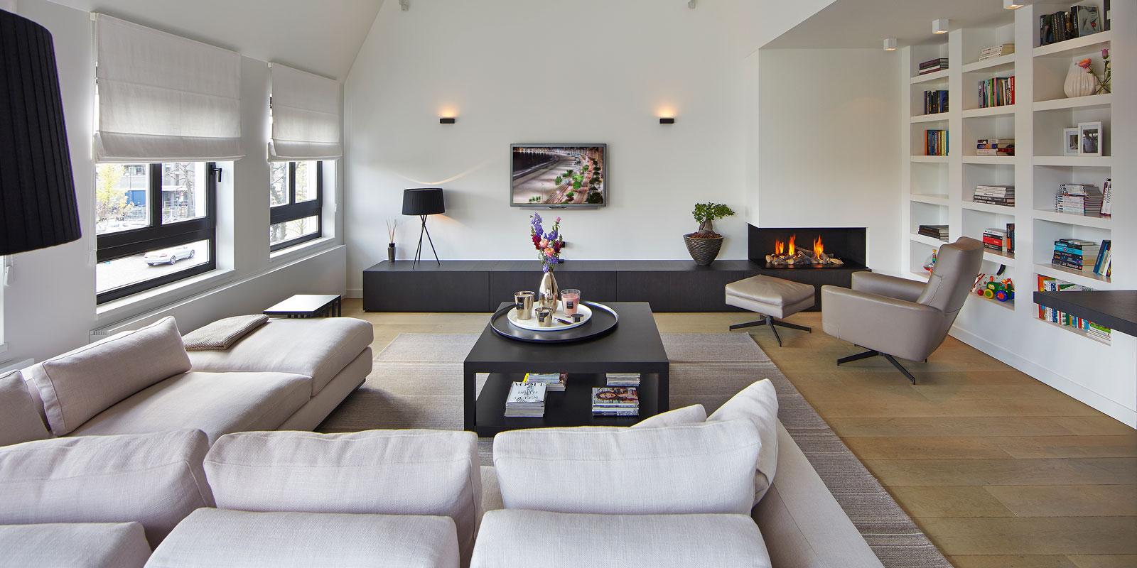 Woonkamer, living, haard, Heerkens Openhaarden en Kachels, houten vloer, Meubiflex, parket, penthouse, Marco Daverveld