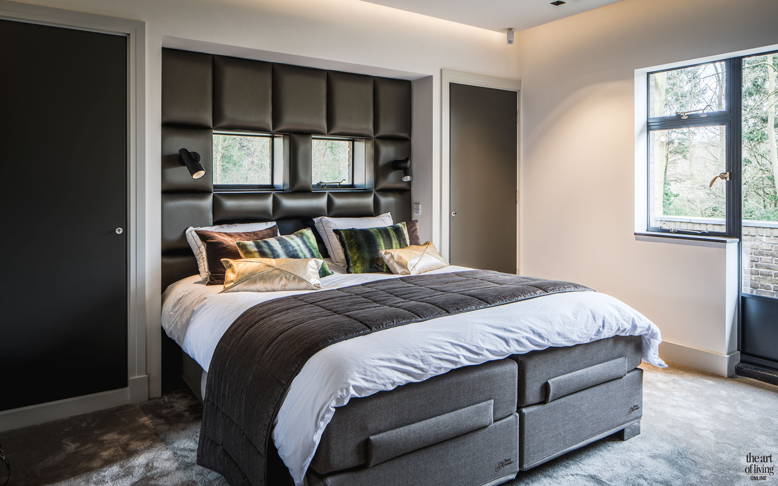 Slaapkamer, master bedroom, bed, boxspring, Jensen Beds, monumentale villa, Van den Wildenberg