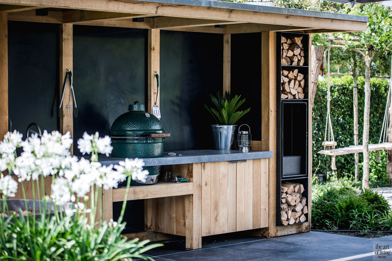 Tuin, Tuinen, Landelijk, Outdoor Kitchen, Terras, buitenkeuken, Barbecue, Big Green Egg, Meker Tuinen, The Art of Living Online