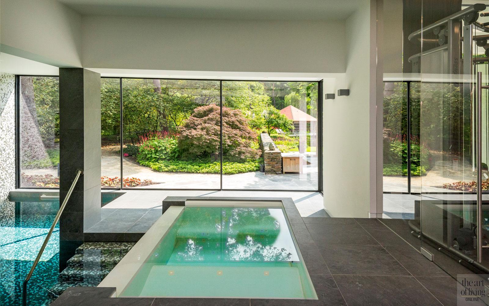 Zwembad, Wellness, bad, douche, whirlpool, Minimalistische Villa, VLCS Architecten, The Art of Living